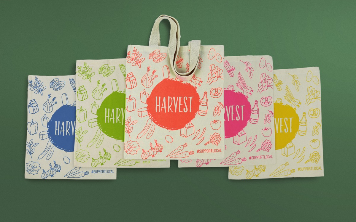 WBC bags for life created tote shoppers for health food shop Harvest N16